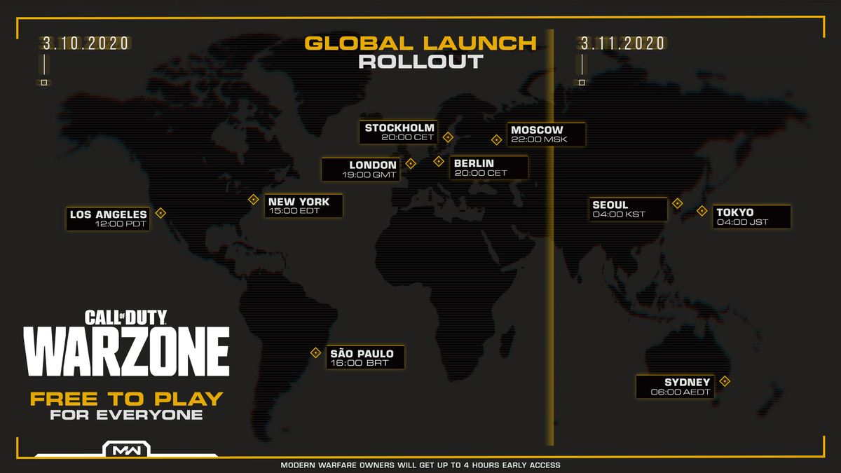 warzone call of duty launch time